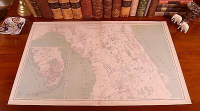 Original Antique CSA US Civil War Map FLORIDA Jacksonville Ocala St Augustine FL