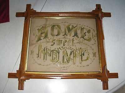 Victorian Green And Tan Paper Punch Motto Sampler  Home Sweet Home