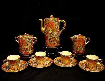 MARKED Nikko JAPANESE TAISHO THOUSAND FLOWER SATSUMA TEA POT / DEMITASSE SET