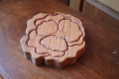 Handmade Wood Wooden Flower Puzzle Box Hand Crafted