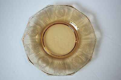 Pink Peach Etched Depression Glass Etched Plate 7""