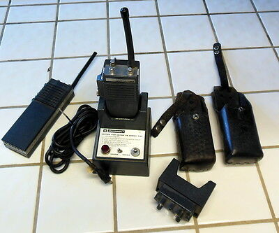 MOTOROLA HT-220 Transceiver LOT of 2 WITH OMNI Base and LEATHER