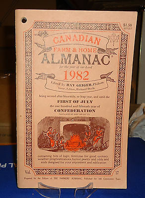 Canadian Farm & Home Almanac 1982 Weather Forecasts Humour Poetry Cooking