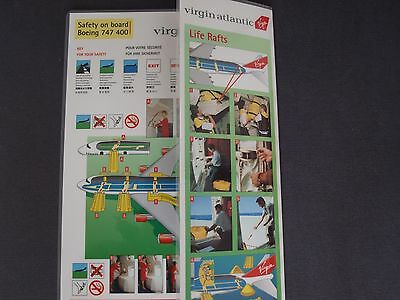 Virgin Atlantic 1990's Boeing 747-400 Safety Card With Additional Life Rafts