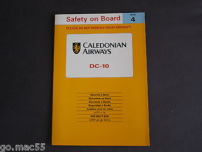 Caledonian Airways 1990's DC-10 Safety On Board Card -  Issue 4 F619 (4th)
