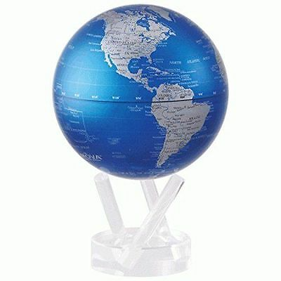 "MOVA Earth Globe - Cobalt blue and silver -11.5 cm 4.5"" - self rotating sphere"