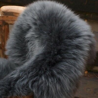 Genuine Charcoal grey sheepskin rug XXL Single size eco pelt STUNNING  Fur