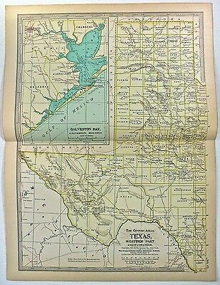Original 1897 Map of Western Texas by The Century Company