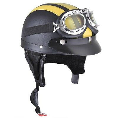 Retro Motorcycle Half Helmet Open Face Scooter Harley Goggles Visor Scarf Yellow