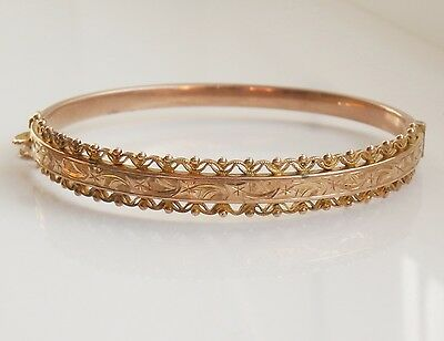 Stunning Vintage 9ct Gold Engraved Bangle c1942 by Smith & Pepper