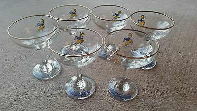 Set of 6 Vintage 1970s Babycham coupe deco champagne Glasses Yellow Bambi deer