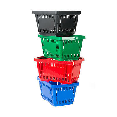 Plastic Shopping Basket 6 Colours 5 & 10 pack 20 Litre Plastic Shopping Basket