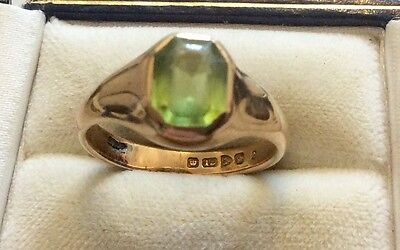 Superb Over 100 Year Old  Heavy Chester Solid 18ct Gold Peridot Ring -S 1/2