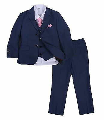 Page Boy Christening Formal Wedding 6pc Prom Suit Navy and Blue From 1 - 14 Yrs