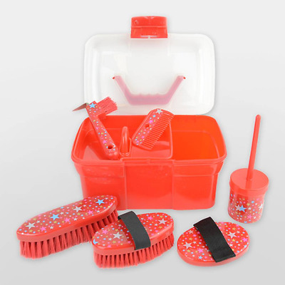 Lincoln Star Pattern Grooming Kit: Red