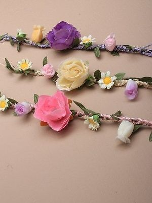 Plaited Cord And Fabric Flower Bracelet / Wrist Corsage   In Cream/Lilac Or Pink