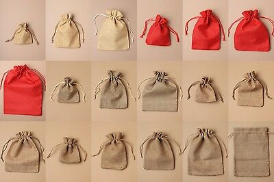 Pack Of 12 Natural Brown Red Jute Drawstring Bag, Pouch Gift Jewellery Wholesale