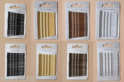 CARD OF 36 KIRBY GRIPS, HAIR PINS, BOBBY PINS, SLIDES, CLIPS, 45mm/55mm