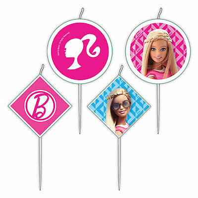 4 Pink Barbie Sparkle Children's Birthday Party Mini Snack Pick Cake Candles