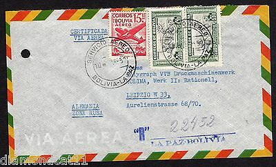 Bolivia Aprox 1950 Air mail Envalope Opened GOOD Used R16203