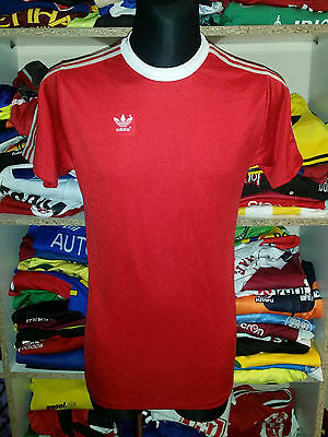 VINTAGE 1980s ADIDAS SHIRT SIZE L MADE IN WEST GERMANY TRIKOT JERSEY RED f265