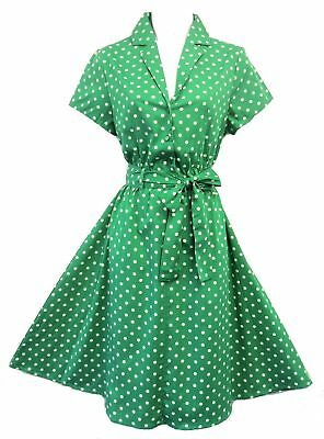New Rosa Rosa Green Polka Dot WW2 Land Girl 1940's style Home Front Tea Dress