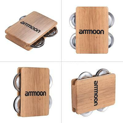 ammoon Cajon Box Drum Companion Accessory 4-bell Jingle Castanet Z7U2