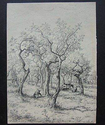 Original Pen, Ink & Pencil Drawing, Signed, circa 1880's, French Rural Scene