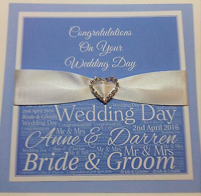 Personalised Handmade Wedding Day Card in Baby Blue