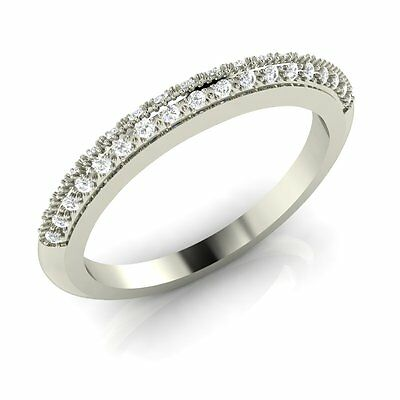 925 Sterling Silver Wedding Anniversary Band Ring with Pave Set Cubic Zirconia