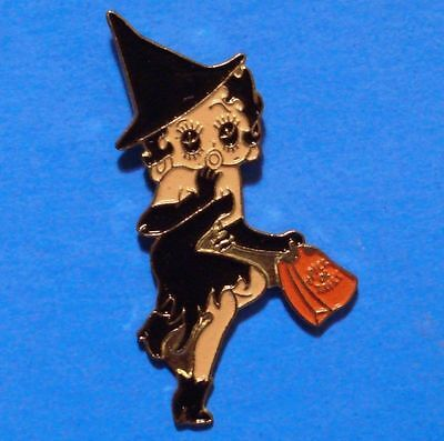 Betty Boop - Black Witch - Halloween - Vintage Lapel Pin - Hat Pin