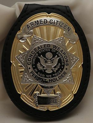 Concealed Weapons Permit Holder Armed Citizen badge & belt clip Tennessee Gold