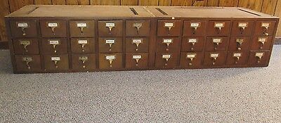 Library Index Card Catalog Cabinet 30 Drawers Vintage