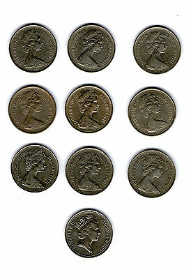 5 Pence coins - 10 different ranging 1968 to 1987