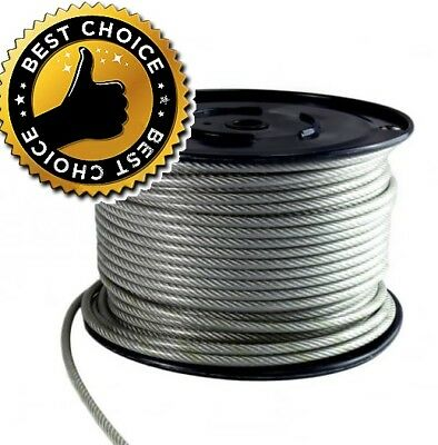 Extra Strong Galvanized Steel Clear PVC Plastic Coated Wire Rope Various Sizes