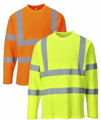 PORTWEST S278 yellow or orange hi-vis long sleeve T-shirt size small-3XL