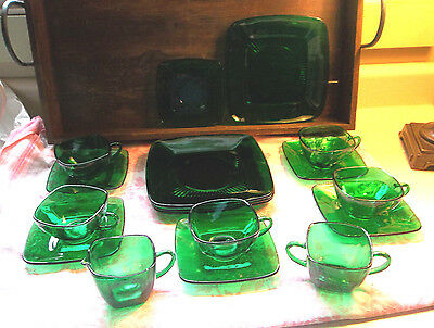 Fire King Anchor Hocking Charm Emerald Forest Green 17 Pieces Vintage 1950's