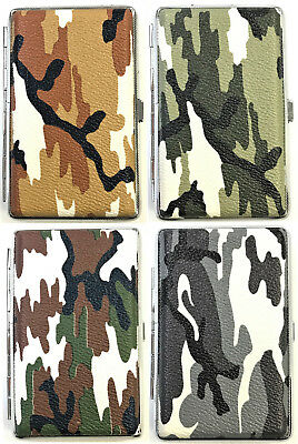 Eclipse Camouflage Crushproof Leather Wrapped Metal Cigarette Case Wallet, 100s