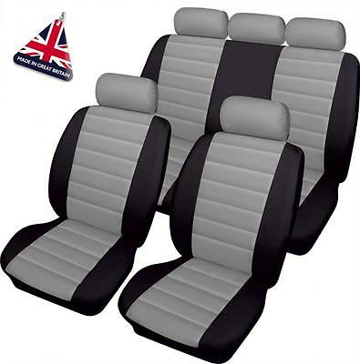 MERCEDES GREY/BLACK LEATHER LOOK CAR SEAT COVERS FULL SET A B C Class CL CLA