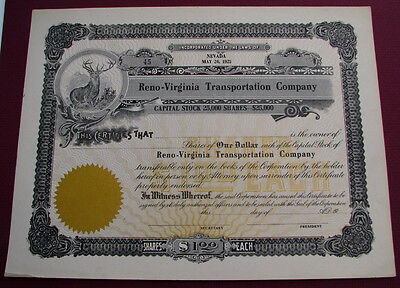 #492 - unissued RENO-VIRGINIA CITY TRANSPORTATION CO. NEVADA stock certificate