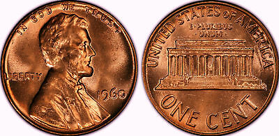 1960 P Red LINCOLN Memorial USA One Cent large Date