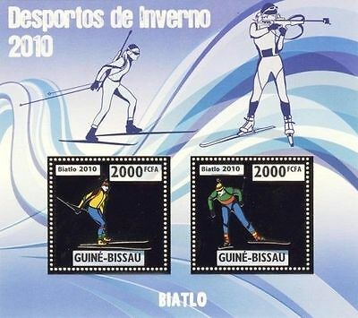GUINEA BISSAU WINTER SPORTS OLYMPICS BIATHLON GOLD FOIL S/S MNH GB10211 s