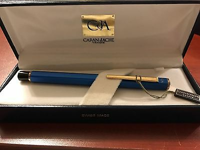 CARAN d'ACHE ECRIDOR  COLLECTION  BLUE FOUNTAIN PEN MED PT  NEW IN BOX 0958-149