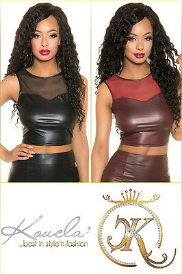 Sexy Wetlook-Shirt Tank Crop Top mit Mesheinsatz Gr. XS/S,S/M,M/L  Leder-Optik L