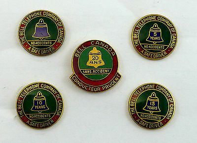 Collection of 5 Bell Telephone Safe Driver Enameled Pins / Awards  20 years