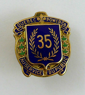 1929 Quebec Power Co 35 years of Service 10k Gold & Enamel Award Pin