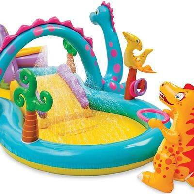 New Intex Dinoland Kids Activity Water Play Centre Paddling Pool Slide New