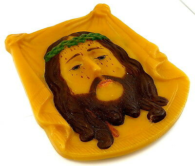Circa 1930 Wax Plaque of The Holy Face of Jesus / Volto Santo