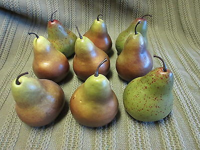 9 Piece Lot Artificial Fake Bartlett Pears Color Variety Faux Fruit Stage Prop