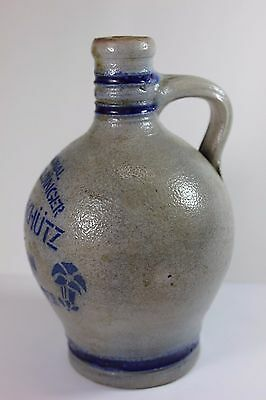 Antique Stoneware Jug w/ Handle - Cobalt Blue Leaves, Rings & Lettering